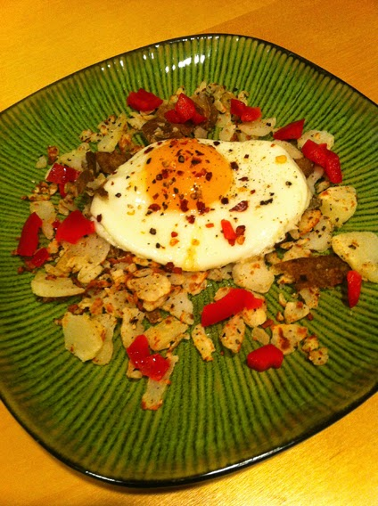 Fried Egg on Crispy Potatoes with Red Peppers