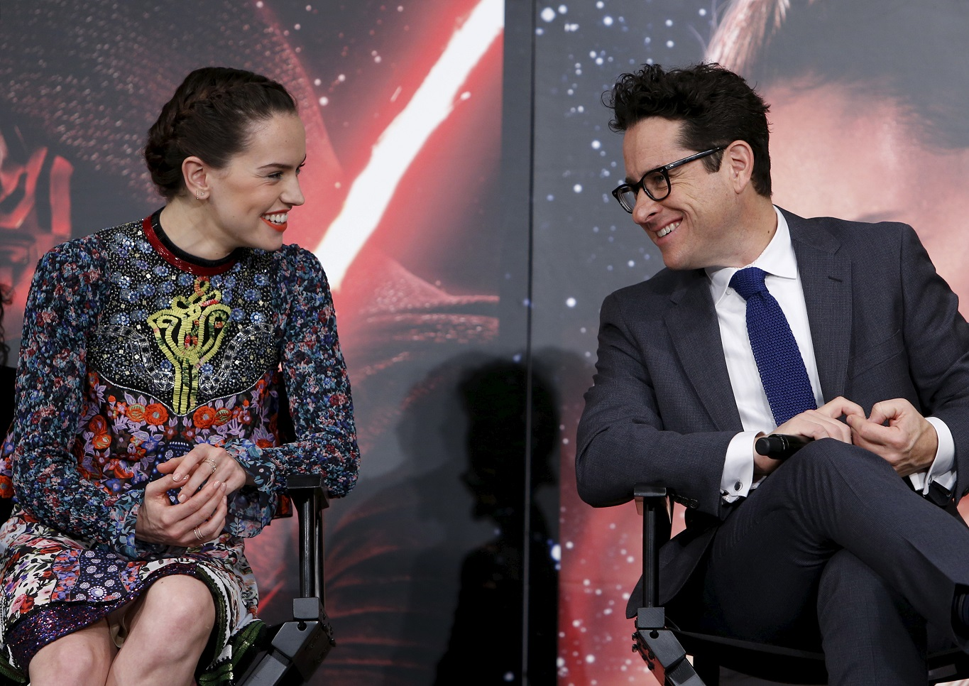 Daisy Ridley and J. J. Abrams