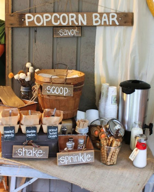 rustic popcorn wedding bar
