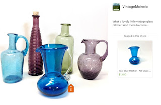 Colorful vintage glass vases