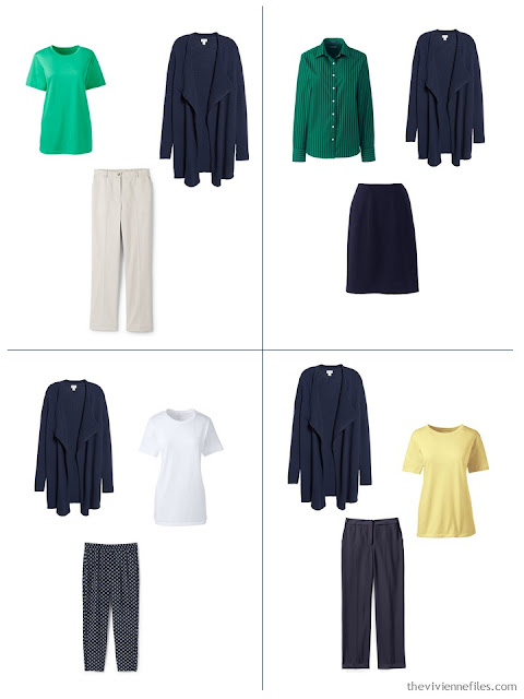 adding a navy cardigan to a spring capsule wardrobe