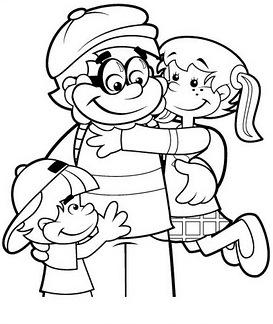 padre e hijos colorear