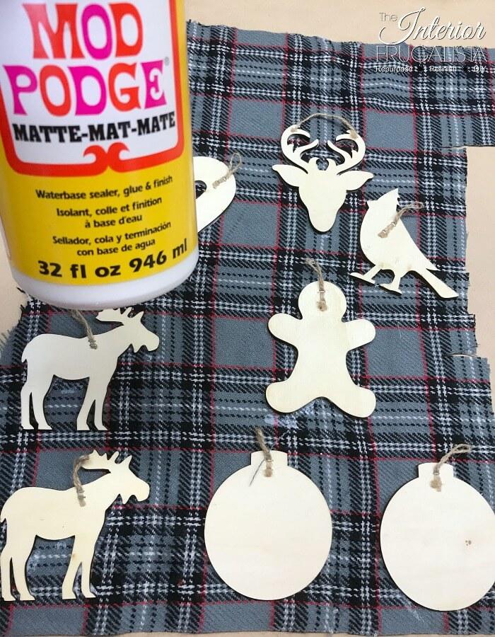 Eco Friendly Decoupaged Plaid Fabric Ornament Gift Tags