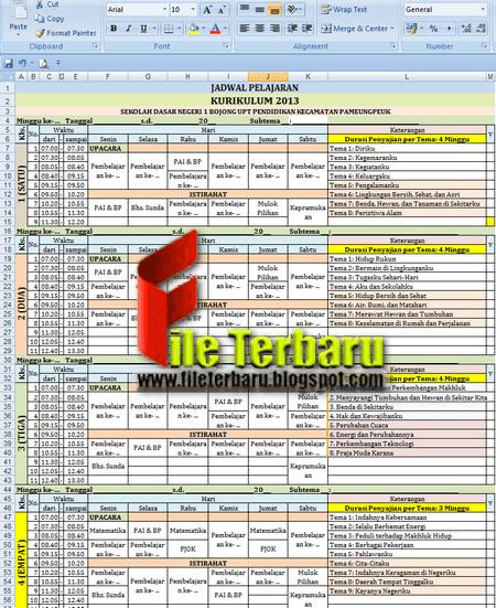 Contoh Jadwal Pelajaran Kurikulum 2013 Tahun Pelajaran 2018/2019