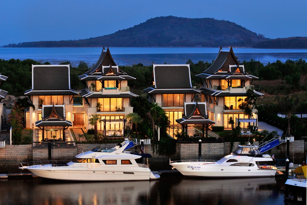 picture of two modern villas with private yacht docks and yachts dock design ideas - Dock Design Ideas