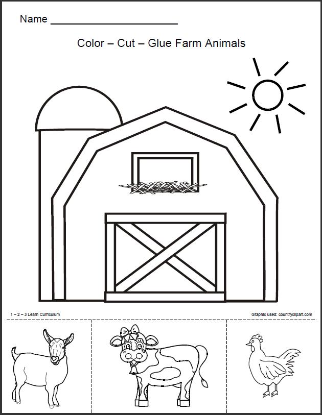 1 - 2 - 3 Learn Curriculum: Barn Animals Worksheet