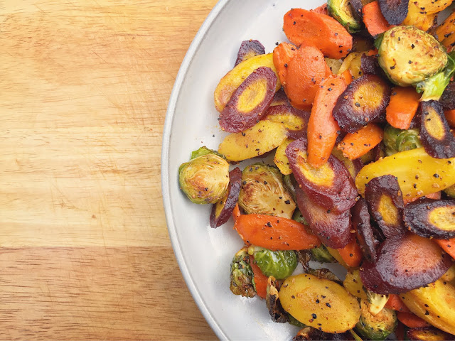 Tri-colored carrots and Brussels sprouts roasted with Jay D's Spicy & Sweet Rub
