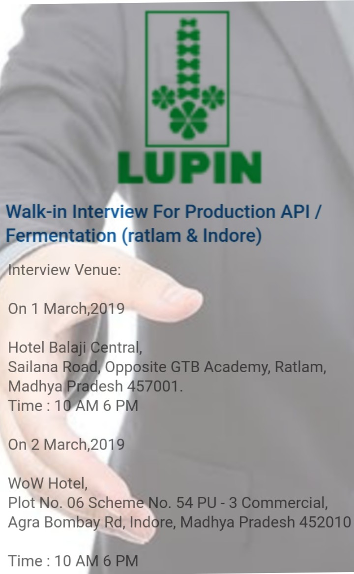 Lupin Ltd | Walk-in interview for Production - API& Fermentation