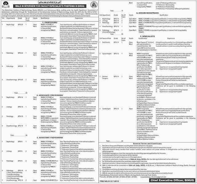 MBBS Doctors Jobs in Balochistan Institute of Nephro-Urology Queeta BS-18 to BS 20