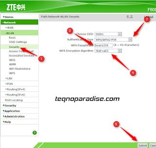 setting password wifi modem zte f609