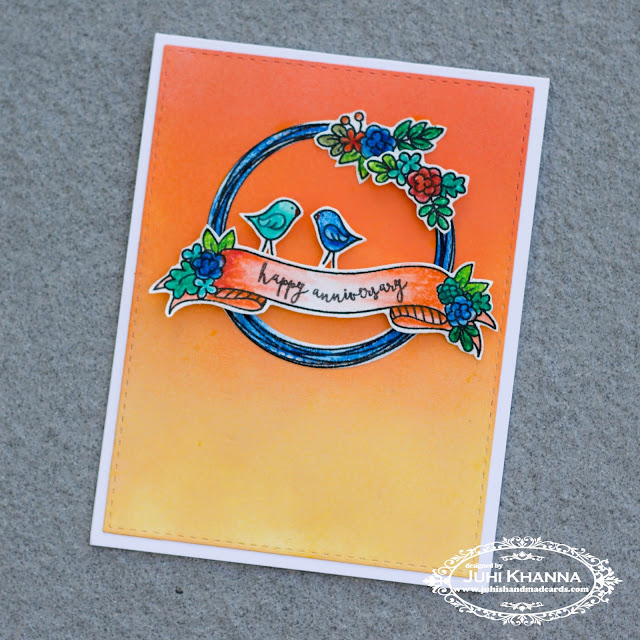 "Handmade Anniversary card using Avery Elle ""banner and wreath"" stamps"