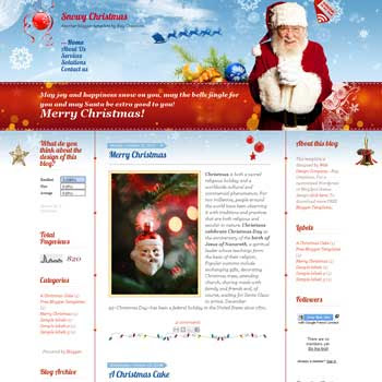 Snowy Christmas blogger template. download personal blogger template. free blogspot template