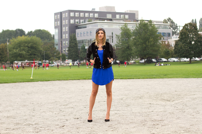 Vancouver fashion blogger, Alison Hutchinson, is wearing a Gypsy Junkies Varsity bomber in black, Friend of Mine BMX dress in blue, a vintage black leather hat, and black zara pumps. Photoshoot was done in collaboration with Wild & Heart