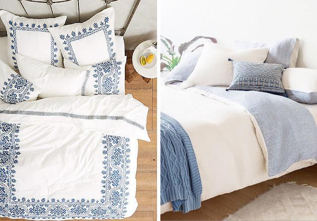 ropa de cama azul y blanca