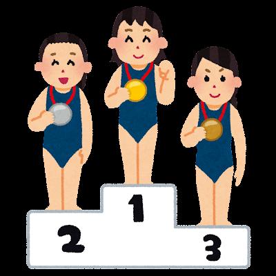 表彰台に乗る水泳選手のイラスト(女性)
