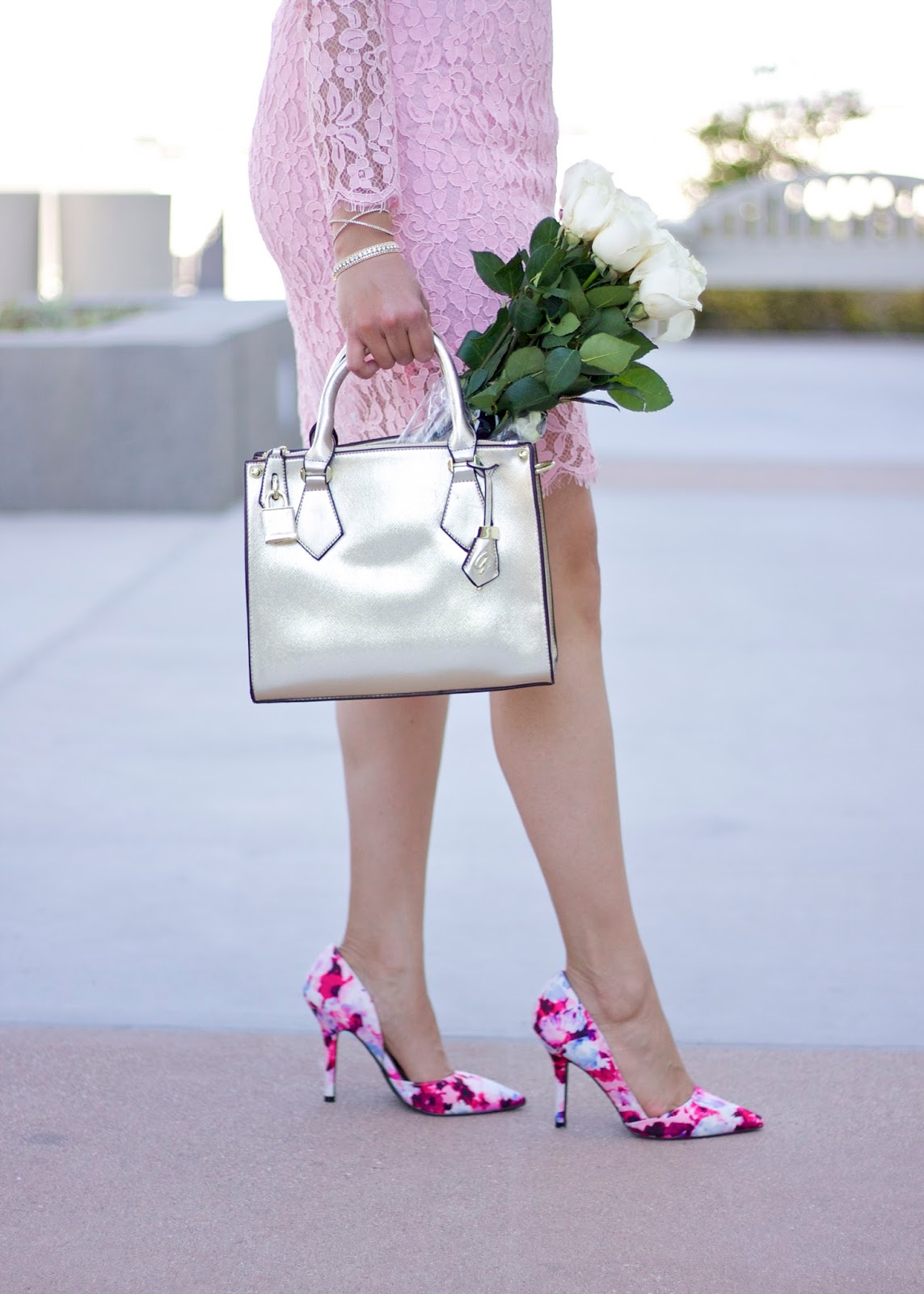 galian handbags gold purse, qupid floral heels, what to wear this spring 2016, pretty in pink