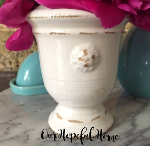 tuscan terra cotta vase PB knock-off thrift store find Our Hopeful Home