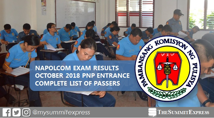 LIST OF PASSERS: PNP Entrance Exam October 2018 NAPOLCOM result