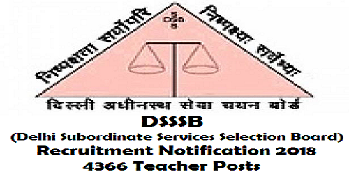 DSSSB Recruitment Notification 2018 for 4366 Teachers