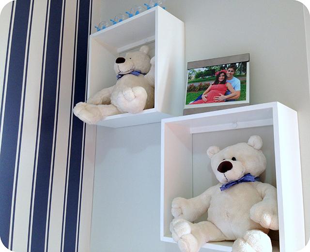 Nichos com Ursinhos - Quarto de Bebê Azul e Branco com Ursinhos