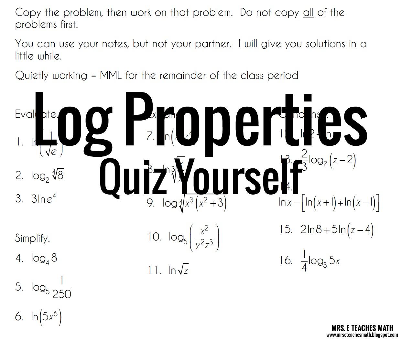 worksheet The Properties Of Math log properties quiz yourself mrs e teaches math yourself