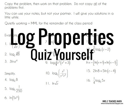 Log Properties Quiz Yourself - Students practice taking a quiz to see how well they know the properties of logarithms.