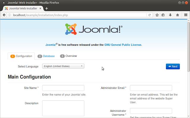 Начало установки Joomla