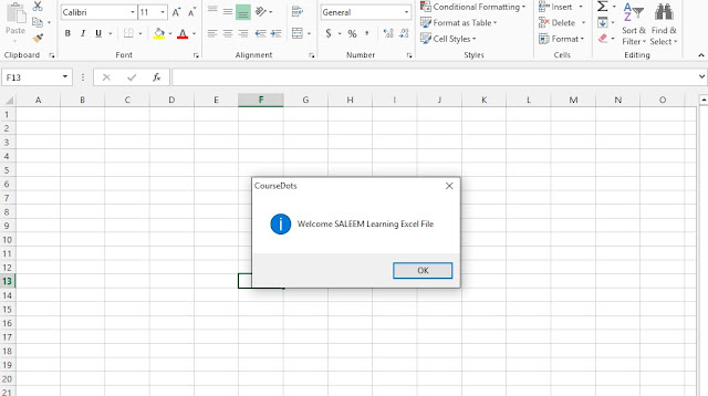 Excel VBA Welcome Note In Excel