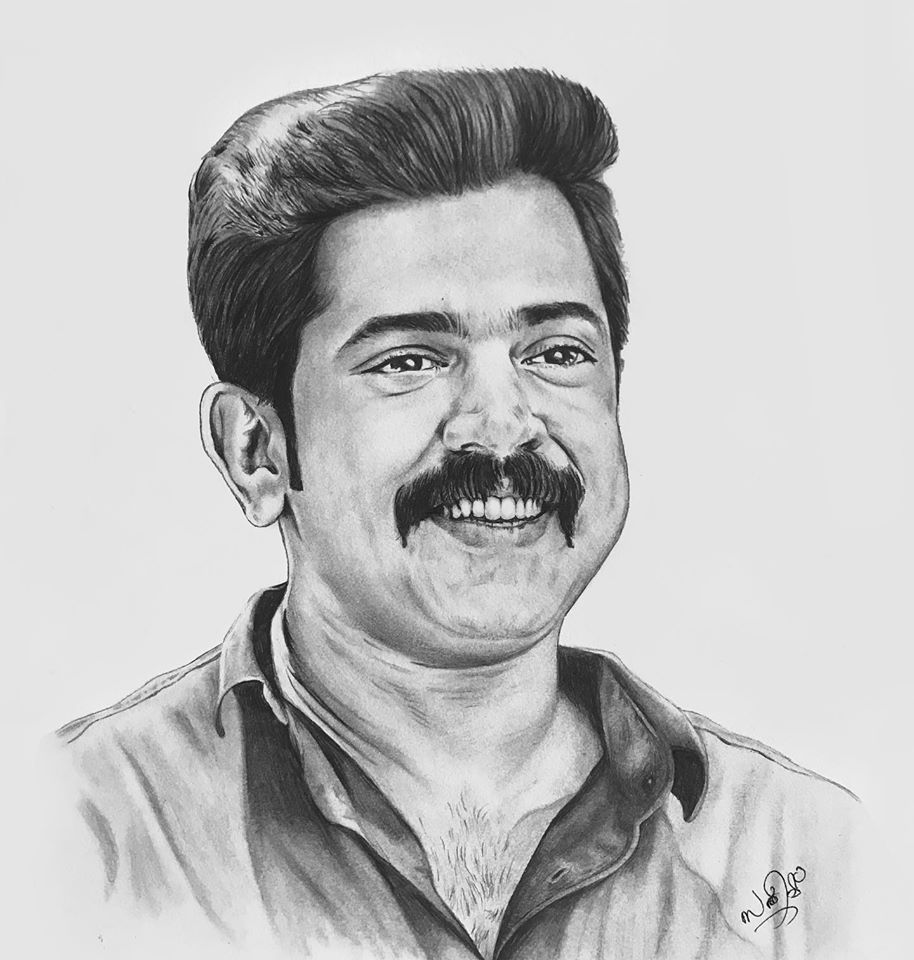 Pencil drawing of actor Nivin Pauly