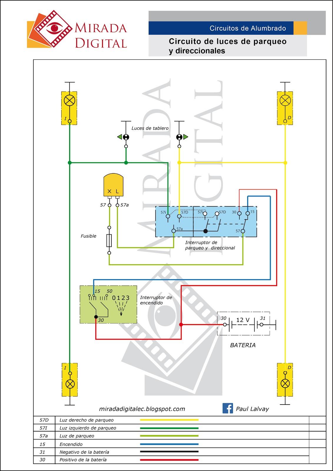 Circuito Electrico : Mirada digital circuito eléctrico de direccionales y parqueo