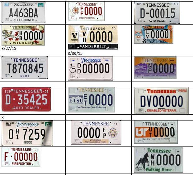JimBob's License Plates : Tennessee Plates