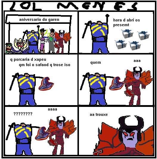 Tirinha lol menes, garen e aatrox, piadas ruins de league of legends.