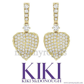 Kate Middleton Jewelry KIKI McDONOUGH Lauren Yellow Gold Pave Diamond Leaf Earrings