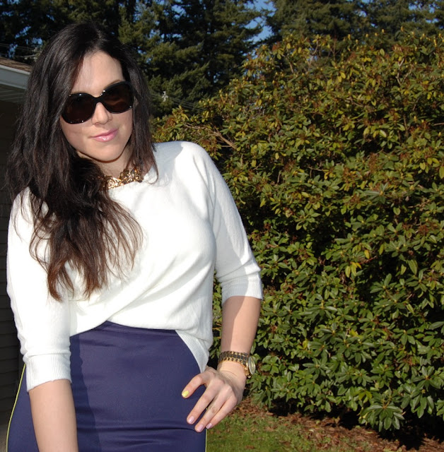 Neoprene pencil skirt with a white Forever 21 sweater and Prada sunglasses