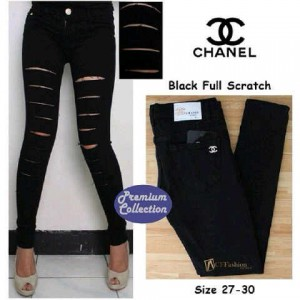 Celana Jeans Wanita Chanel Hitam