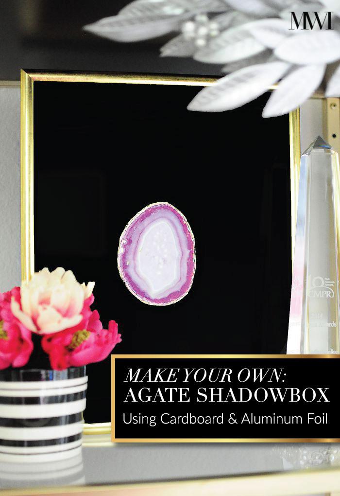 agate artwork shadowbox pink