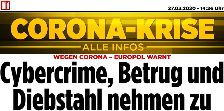 WEGEN CORONA – EUROPOL WARNT: Cybercrime, Betrug und Diebstahl nehmen zu