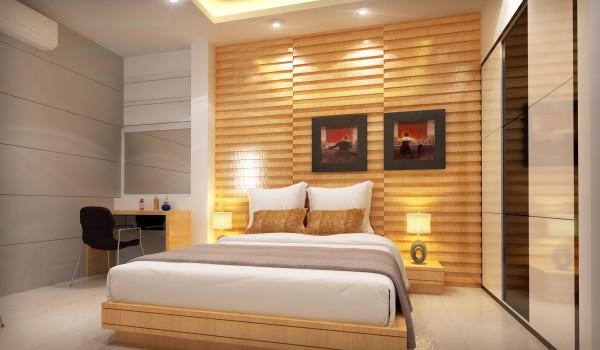 Gỗ ốp tường trong phòng ngủ