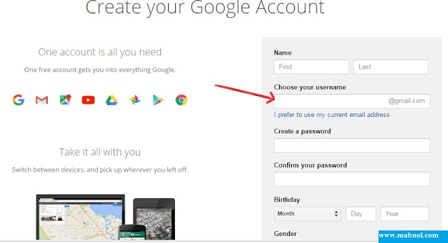 user name for gmail account