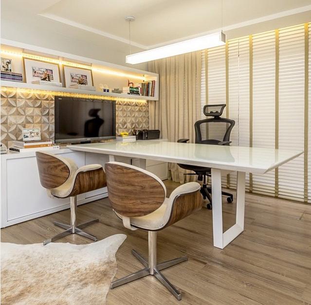 Construindo minha casa clean 40 home office escrit rio for Escritorios modernos para casa