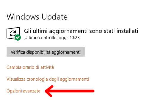 Opzioni Avanzate aggiornamenti Windows
