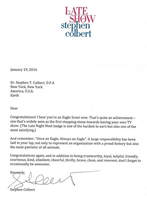 3 rivers district northern new jersey council stephen colberts httpblogoutingmagazine20160204read stephen colberts hilariously awesome letter new eagle scout thecheapjerseys Gallery