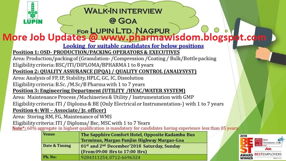PHARMA WISDOM: LUPIN LTD - Walk-Ins for QA / QC / Production