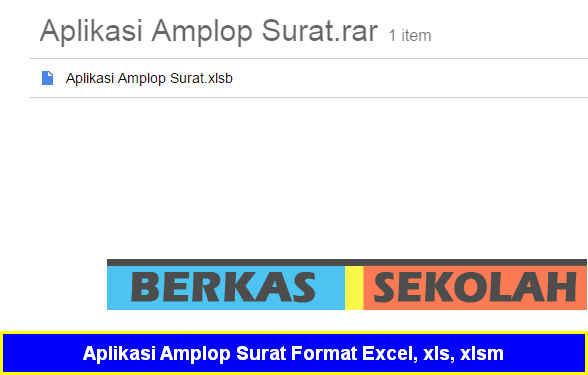 Aplikasi Amplop Surat Format Excel, xls, xlsm