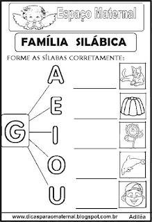 Família silábica alfabetização letra G