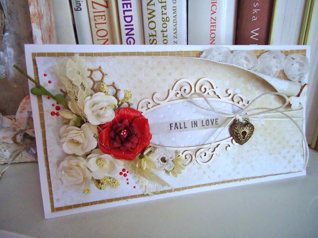 warstwowa kartka hand made z czerwonym kwiatem