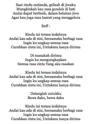 Lirik Lagu Andien RIndu Ini