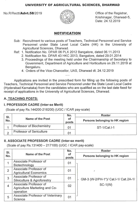 UAS Dharwad Faculty Jobs 2020