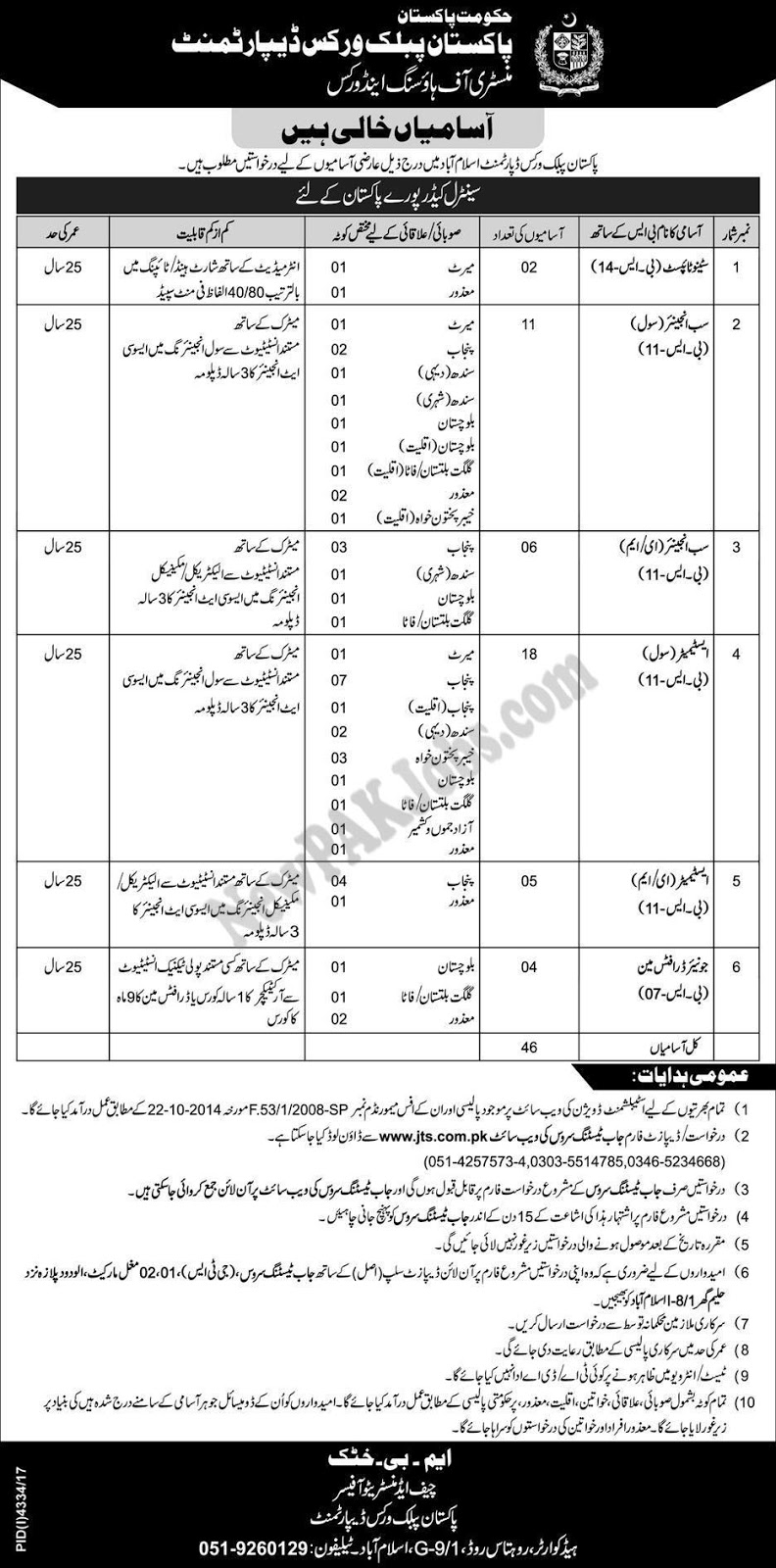 Jobs in Pakistan Public Works Department